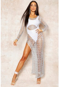 Womens Silver Long Sleeve Metallic Knit Beach Dress