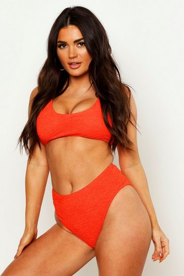 Womens Coral Mix & Match Crinkle High Waist Brief