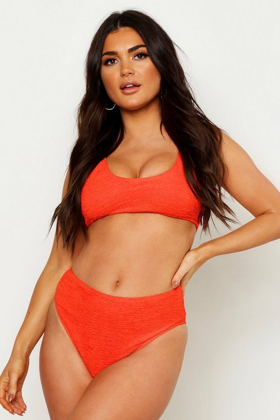 Womens Coral Mix & Math Crinkle Crop Bikini Top