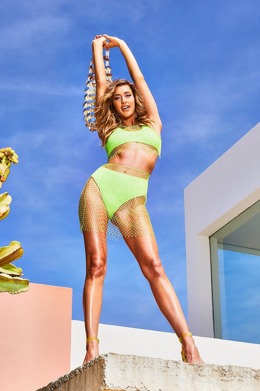 f69272bc41 Mix & Match Crinkle Crop Bikini Top, Neon-green, FEMMES