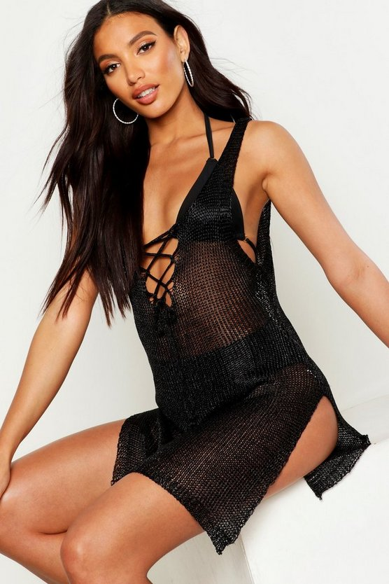 Metallic Knitted Lace Up Beach Dress, Black, MUJER