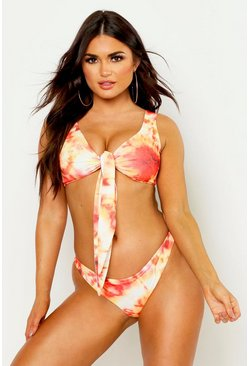 Womens Orange Tie Dye Triangle Bikini