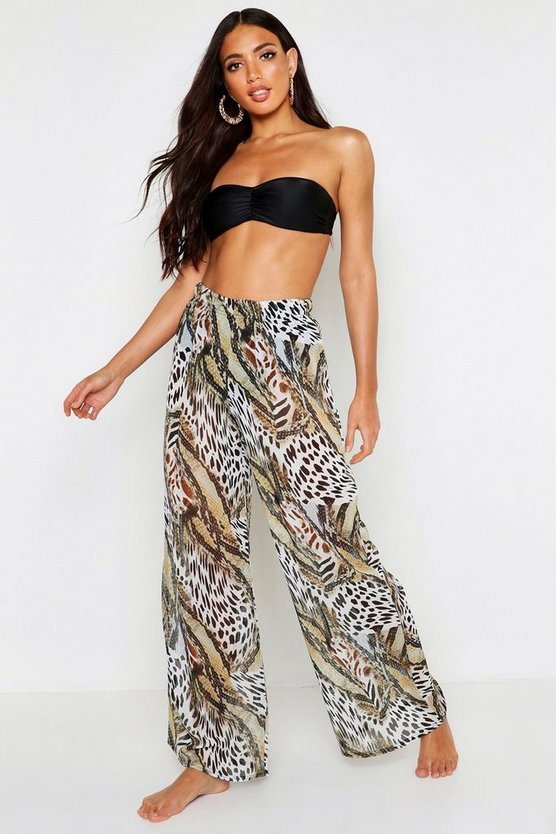 Womens Brown Animal Snake Beach Trousers