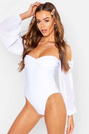 Womens White Balloon Sleeve Swimsuit