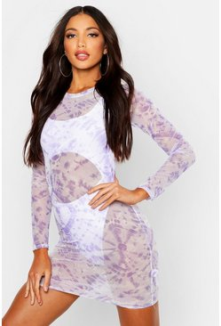Tie Dye Mesh Long Sleeved Beach Cover Up, Purple, Donna