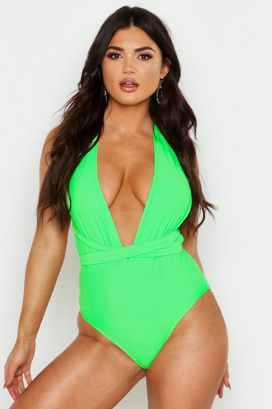 Womens Neon-lime Neon Multiway Swimsuit