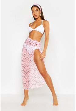 Polka Dot Sarong & Head Scarf Set, White, FEMMES