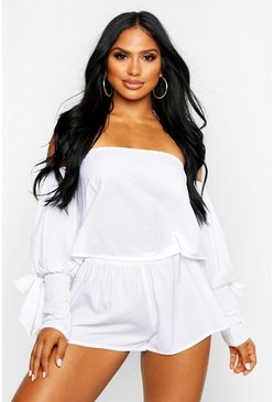 Womens White Bardot Bow Sheered Beach Co-Ord
