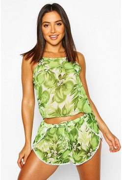 Womens Green Floral Apple Beach Co-Ord