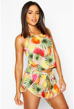 Womens Pink Fruity Beach Co-Ord