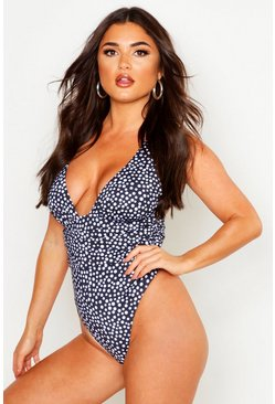 Black Polka Dot Fuller Bust Ruched Swimsuit