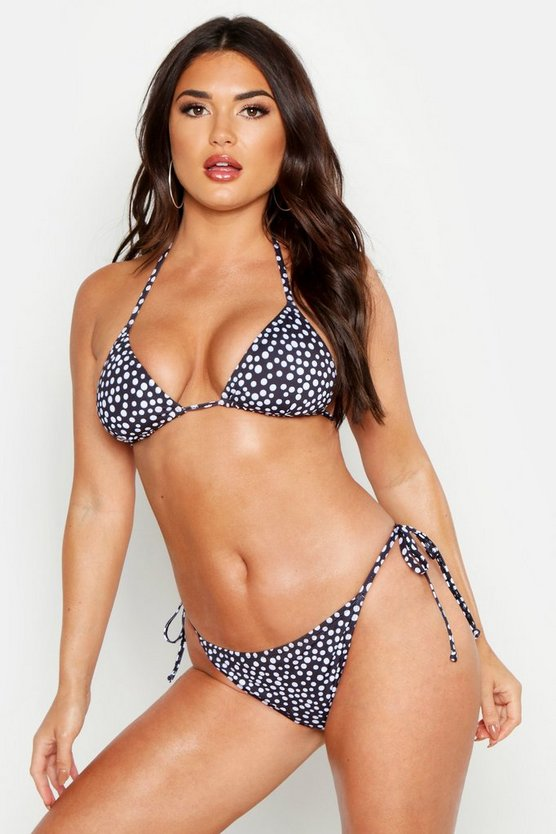 Womens Black Polka Dot Triangle Tie Bikini