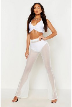White Mesh Beach Pants