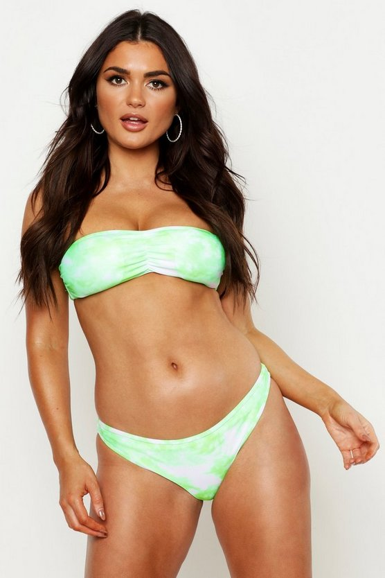 Womens Neon-green Mix + Match Tie Dye Fixed Brief
