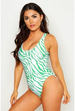 Womens Neon-green Tiger Scoop Swimsuit