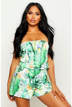 Womens Green Tropical Parrot Jersey Beach Romper