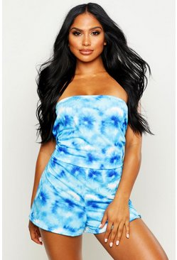 Womens Blue Tie Dye Jersey Beach Playsuit