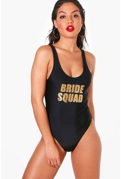 'Bride Squad' Slogan Scoop Swimsuit, Black, Donna