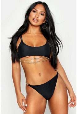 Womens Black Chain Detail Crop Bikini