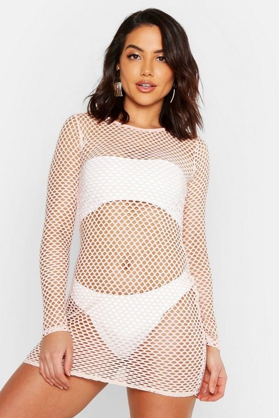 Long Sleeve Fishnet Beach Dress, Nude, Donna