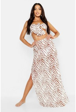 Womens Brown Tiger Maxi Skirt Beach Co-Ord