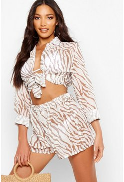 Womens Brown Tiger Shirt & Short Beach Co-Ord