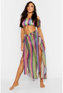 Womens Multi Rainbow Tribal Bardot & Trouser Beach Co-Ord