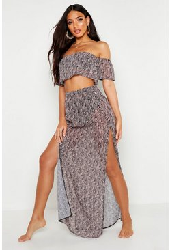 Womens Black Zebra Bardot and Skirt Beach Co-Ord