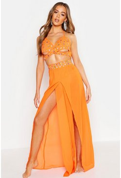 Neon-orange Premium Neon Jewelled Beach Trousers