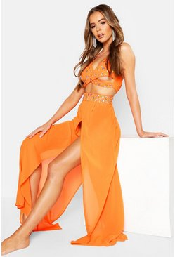 Neon-orange Premium Neon Jewelled Beach Co-Ord