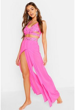 Womens Neon-pink Premium Neon Jewelled Beach Co-Ord