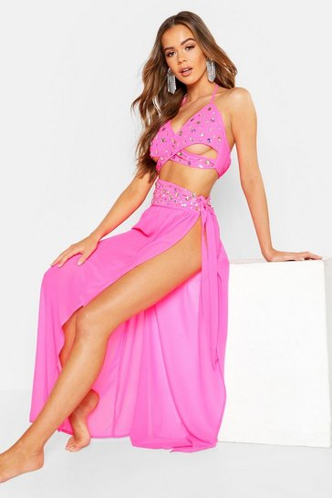 Womens Neon-pink Premium Neon Jewelled Maxi Beach Sarong