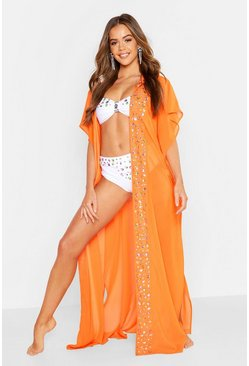 Womens Neon-orange Premium Neon Jewelled Maxi Beach Kimono