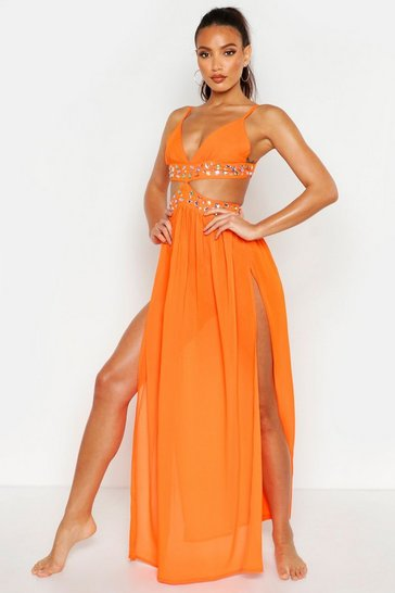 Womens Neon-orange Premium Neon Jewelled Maxi Beach Dress