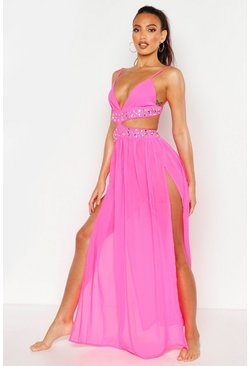 Womens Neon-pink Premium Neon Jewelled Maxi Beach Dress