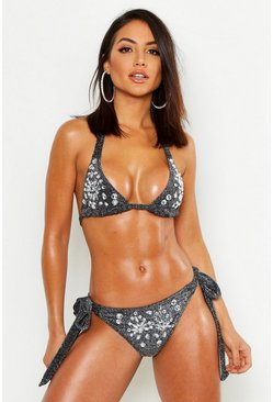 Womens Black Premium Glitter Diamante Triangle Bikini