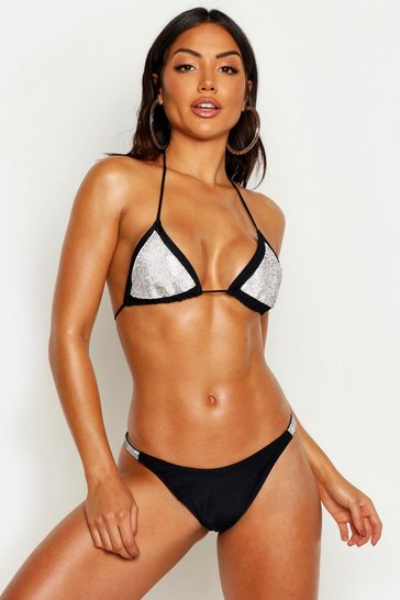Womens Black Premium Diamante Triangle Bikini