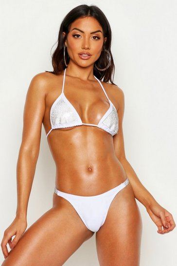Womens White Premium Diamante Triangle Bikini