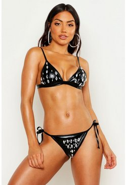 Womens Black Premium Jewelled Triangle Bikini