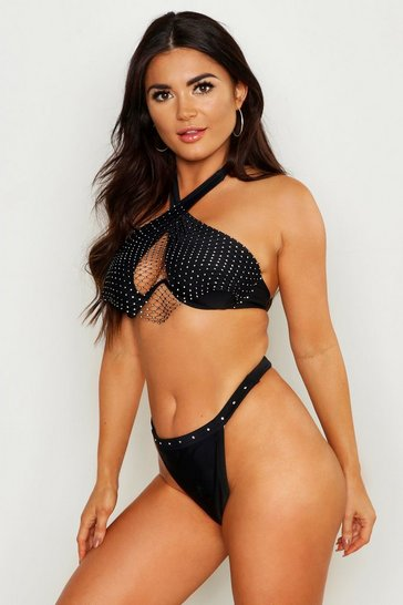 Womens Black Premium Jewelled Halterneck Underwired Bikini
