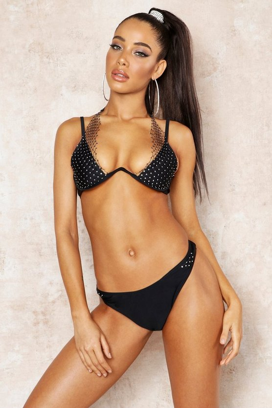 Womens Black Premium Jewelled Net Underwired Bikini