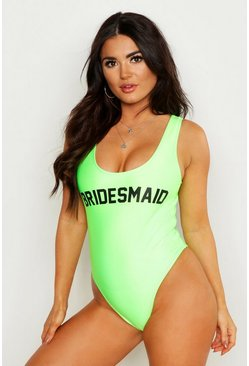 Womens Neon-green Neon Bridesmaid Swimsuit