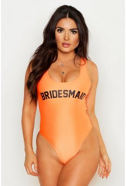Neon-orange Neon Bridesmaid Swimsuit