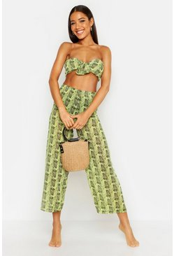 Womens Lime Neon Snake Bandeau & Culottes Beach Co-Ord