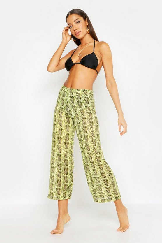 Womens Lime Neon Snake Beach Culottes