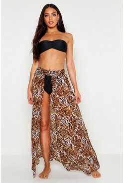 Womens Pink Mixed Animal Print Maxi Beach Skirt