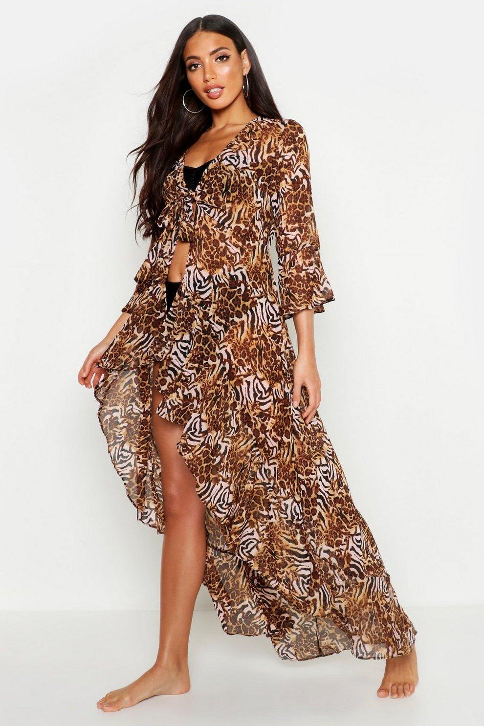 286710602 Mixed Animal Print Ruffle Tie Beach Kimono | Boohoo