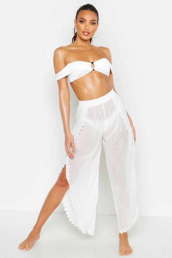Lace Detail Split Leg Beach Trousers