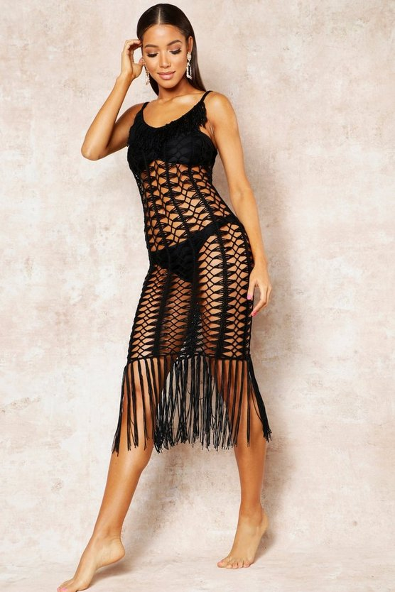 Womens Black Crochet Fringed Beach Dress
