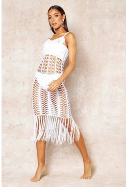 Womens White Crochet Fringed Beach Dress